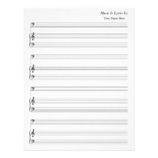 Tom notsystembas och piano för notblad 4 brevhuvud