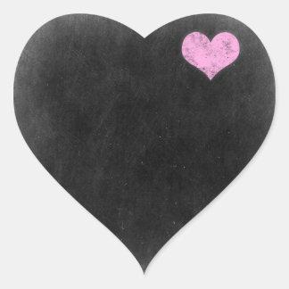 Tom svart tavla - paketera för anpassadeprodukt hjärtformat klistermärke