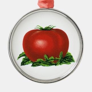 Tomat, grönsaker och frukter för vintage röd mogen julgransprydnad metall
