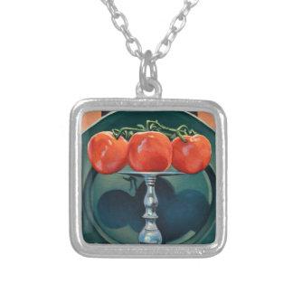 Tomat och vitlök silverpläterat halsband