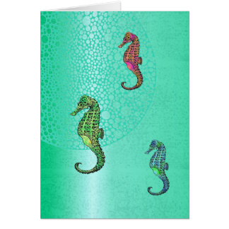 Tomma Seahorses och Aqua Hälsningskort