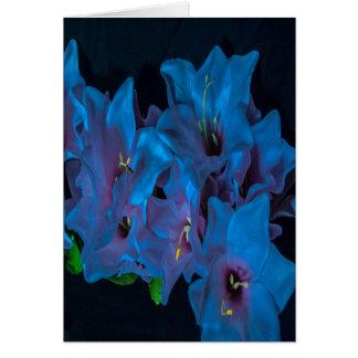 Tomt inre elektriskt blåa blommorhälsningkort hälsningskort