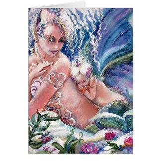 Tomt kort för för sjöjungfrumammor & baby