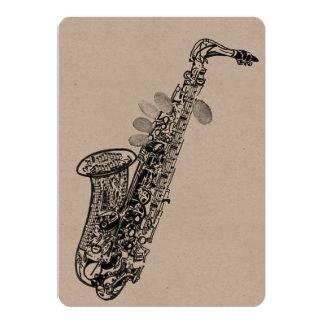Tomt kort för saxofon 12,7 x 17,8 cm inbjudningskort