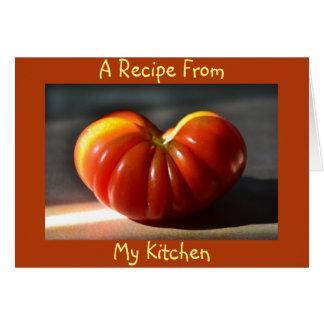 Tomt receptkort för tomat hälsningskort