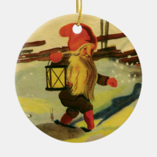 Tomten prydnad rund julgransprydnad i keramik