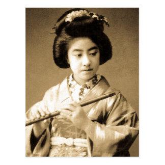 Tonad japansk Geisha för vintage som Sepia leker Vykort