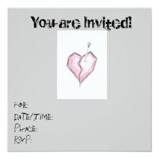 Tonåring birthdayen/för hjärtaskalleinbjudningar fyrkantigt 13,3 cm inbjudningskort