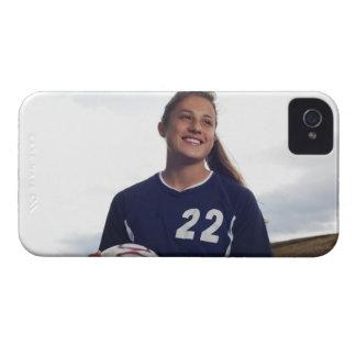 tonåring boll för fotboll för flickafotbollspelare iPhone 4 cover