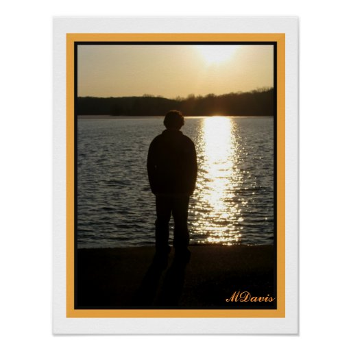 Tonåring i solnedgångkonstfotografi affisch