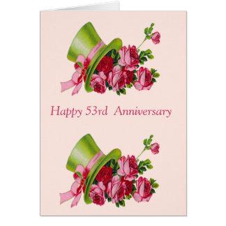 Top hat och blommor, årsdag för lycklig 53rd hälsningskort