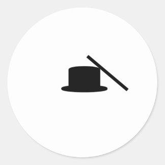 Tophat och trollspö runt klistermärke