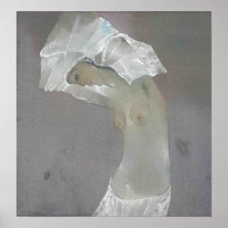Topless kvinnamålning poster