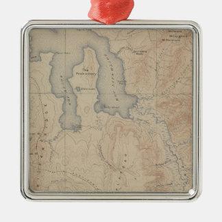 Topografikarta, Yellowstone medborgaredel, Wyoming Julgransprydnad Metall