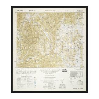 Topografisk karta av Nord och Sydkorea (1952) Canvastryck