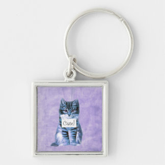 Toppen gullig kattkeychain fyrkantig silverfärgad nyckelring
