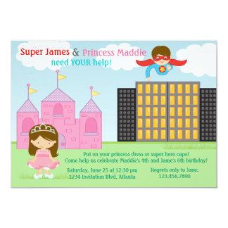 Toppen hjälte och födelsedagsfest för Princess 12,7 X 17,8 Cm Inbjudningskort