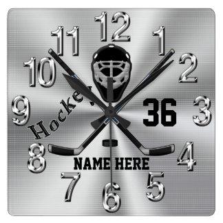 Toppen kyler PERSONLIGhockey tar tid på för pojkar Fyrkantig Klocka