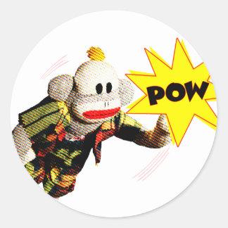 Toppen SockMonkey hjälte Runt Klistermärke
