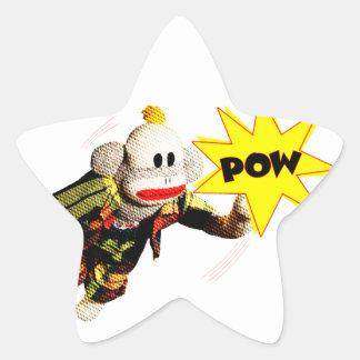 Toppen SockMonkey hjälte Stjärnformat Klistermärke