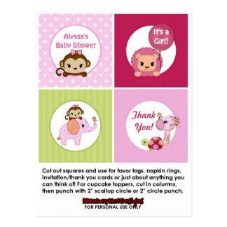 Topper SweetSafari för muffin för APAflickababy Vykort