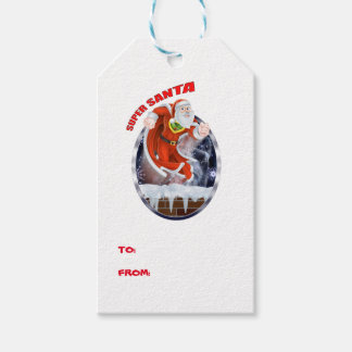 Toppet Santa flyg ut ur lampglaset Presentetikett