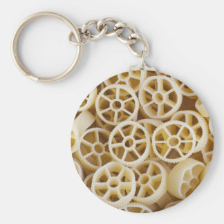 Torkad Rotelle pasta Keychain Rund Nyckelring