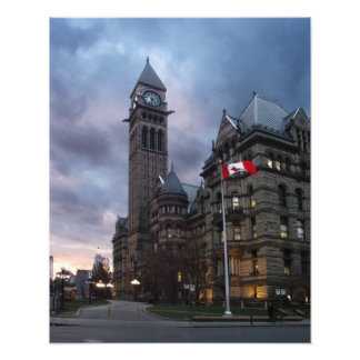 Toronto gammalt stadshus på skymningen fototryck