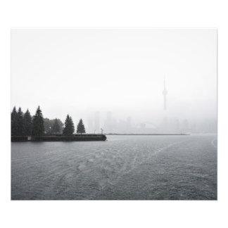 Toronto hamnhorisont i regna fototryck