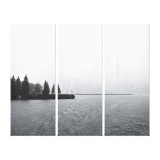 Toronto hamnhorisont i regnatriptychen canvastryck