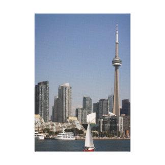 Toronto hamnhorisont med det röda fartyget canvastryck