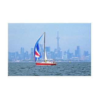 Toronto strand med segelbåten canvastryck