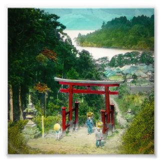 Torri ovanför Japan för sjöAshi 芦ノ湖 vintage Fototryck