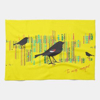 Torrt upp i vår Tricolored svart fågel Kökshandduk