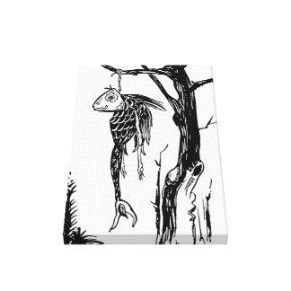 Torsk som hänger på en gren canvastryck