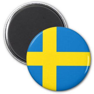 Totalt svensk flagga magnet rund 5.7 cm
