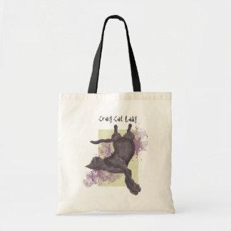 Tote bags för grunge för galen kattdam lila tygkasse