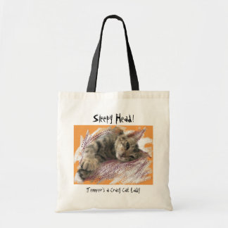 Tote bags för kattungar för galen kattdam rolig tygkasse