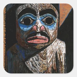Totemen med maskerar fyrkantigt klistermärke