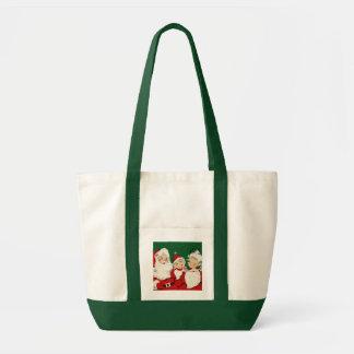 Toto för impuls för jul för vintageSanta familj Impulse Tygkasse