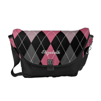 Toto för namn för rosa-, svart- och kolArgyle Kurir Väska