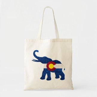 Totot för elefant för den glitterColorado flagga Budget Tygkasse