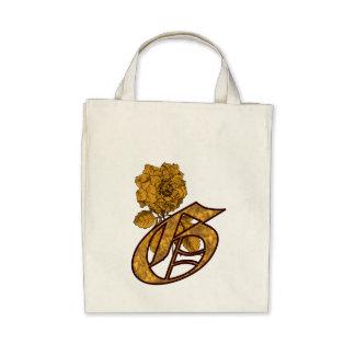Totot för pion för G för monogramen hänger lös den Tote Bag
