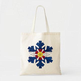 Totot för snowflake för den glitterColorado flagga Budget Tygkasse