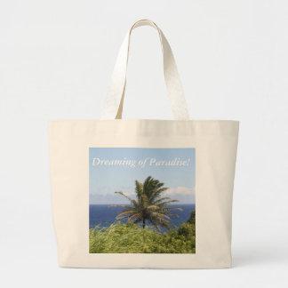 Totot med plats av palmträdet & hav beskådar jumbo tygkasse