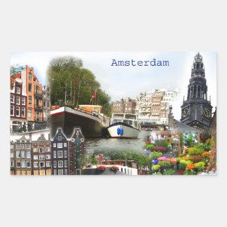 Touristic platser av Amsterdam Rektangulärt Klistermärke