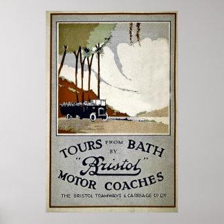 Tours från bad med Bristol motoriska lagledarear Poster