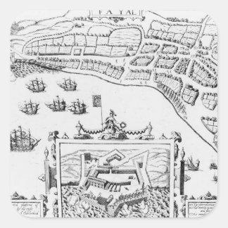 Townen och Platformen av Fayall Fyrkantigt Klistermärke