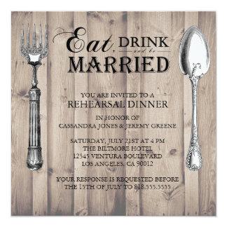 Trä äta drinken och var den att gifta sig fyrkantigt 13,3 cm inbjudningskort
