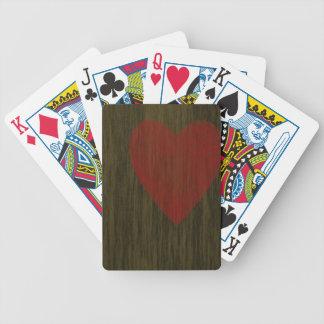 Trä befläckt hjärta spelkort
